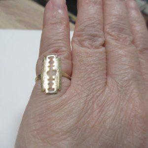10k solid gold razor blade ring